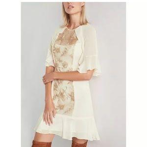 NWT BCBG Maxazria Creme Floral Lace Mini Dress